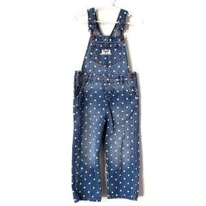 Oshkosh B'gosh polka dot print denim bib overalls